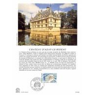 Encart Sur Papier Glacé - Château D'Azay-le-Rideau - 9/05/1987 Azay-le-Rideau - Documents De La Poste