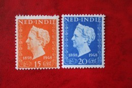 Jubileumzegels Koningin Wilhelmina NVPH 347-348 1948 Ongebruikt / MH NEDERLAND INDIE / DUTCH INDIES - Niederländisch-Indien