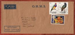Luftpost, Dienstbrief, MiF Zusammendruck Voegel + Pfadfinder, Cook Islands Nach Hamilton 1984? (70856) - Aitutaki