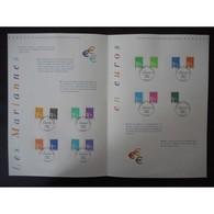 Document Officiel La Poste - Les Mariannes En Euros - Documents Of Postal Services