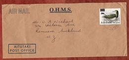 Luftpost, Dienstbrief, EF Vogel Mit Aufdruck, Cook Islands Nach Remuera 1983 (70858) - Aitutaki
