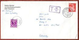 Brief, EF Roentgengeraet, Kirchseeon Nach Vils, Taxstempel, Nachportomarke, 1989 (70860) - Covers & Documents