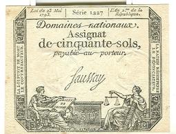 Assignat De Cinquante Sols 50 Domaines Nationaux - Assignats & Mandats Territoriaux