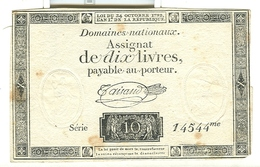 Assignat De Dix Livres 10 Domaines Nationaux - Assignats & Mandats Territoriaux