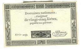Assignat De Vingt-cinq Livres 25 Domaines Nationaux - Assignats & Mandats Territoriaux