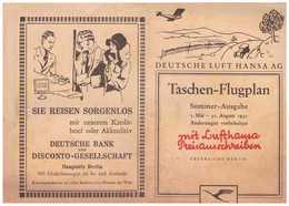 Deutsche Luft Hansa AG Sommer – Flugplan 1931 - Cartes