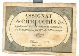 Assignat De Cinq Cents Livres 500 Domaines Nationaux - Assignats & Mandats Territoriaux