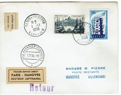 Paris Hanovre Vignette Deutsch Lufthansa  1956 - Aviation
