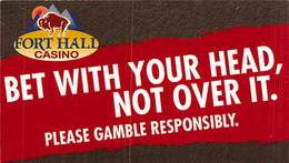 Fort Hall Casino - Fort Hall ID - Paper Gambling Help Card (business Card Sized) - Casino Cards