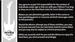 Hard Rock Casino - BIloxi, MS - Warning Card For Minors (business Card Sized, Blank Reverse) - Casino Cards