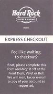 Hard Rock Casino - BIloxi, MS - Paper Express Checkout Card (Business Card Sized) - Casino Cards