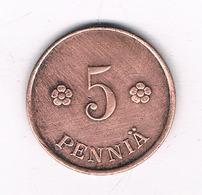 5 PENNIA 1920  FINLAND /2312/ - Finlande