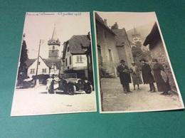 OBERNAI. Famille Posant Devant Une Automobile HOTCHKISS   Lot De 2 Cartes Photo Annee1928 - Obernai