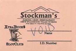 Stockman's Casino - Fallan, NV - Paper  Temporary Slot Card (blank Reverse) - Casino Cards