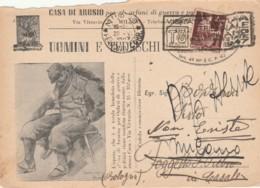 CARTOLINA POSTALE UOMINI E TEDESCHI L.2 1947 TIMBRO TRIENNALE (EX138 - 1946-.. République