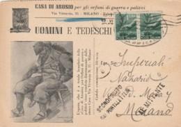CARTOLINA POSTALE UOMINI E TEDESCHI L.1X2 1947 TIMBRO TRIENNALE (EX141 - 1946-.. République