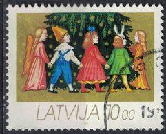 Lettonie 1992 Oblitéré Used Christmas Enfants Jouant Au Tour Du Sapin De Noël - Lettonie