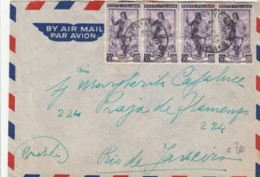 LETTERA 1952 4X50 ITALIA AL LAVORO TIMBRO ROMA (EX101 - 6. 1946-.. Repubblica