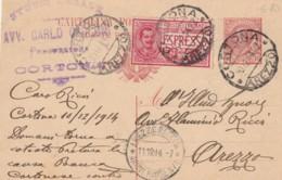 INTERO POSTALE 1914 C.10+C.25 ESPREZZO TIMBRO AREZZO CORTONA (EX123 - Interi Postali