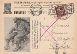 CARTOLINA POSTALE UOMINI E TEDESCHI L.2 1947 TIMBRO TRIENNALE (EX139 - 1946-.. République