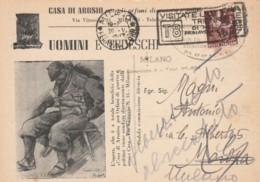 CARTOLINA POSTALE UOMINI E TEDESCHI L.2 1947 TIMBRO TRIENNALE (EX144 - 1946-.. République
