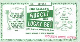 Jim Kelley's Nugget Casino - Reno, NV - 5.25 X 3 Inch Paper Lucky Bet Coupon - Advertising