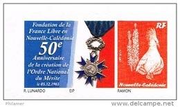 Nouvelle Caledonie Timbre Personnalise 50 Anniversaire Ordre National Merite Genral De Gaulle France Libre Neuf 2013 TB - Nouvelle-Calédonie
