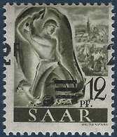 Sarre N°219A** Papier Jaunatre Surcharge 2fr Chiffre à Cheval Et Barres Décalées Filigrane Normal TTB Signé - 1947-56 Occupation Alliée