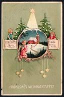 C3506 - Litho Präge Glückwunschkarte - Weihnachten - Engel Angel Tannebaum Sterne - HWB - Christmas