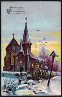 C3507 - Litho Präge Glückwunschkarte - Weihnachten - Kirche Bildstock - Christmas