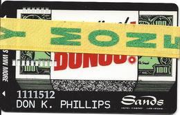 Sands Casino Las Vegas - 8th Issue Sandsational Bonus! Card With Ribbon & Black Square / Faraday  ...[RSC]... - Casino Cards