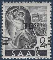 Sarre N°216** Papier Blanc Barres Décalées à Cheval TTB Signé - 1947-56 Occupation Alliée