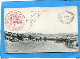 Marcophilie-campagne Du Maroc-carte Postale Une Razzia-cachet Rouge -campagne Du Maroc Casbah Tadla  Dec1914 - Marcophilie (Lettres)