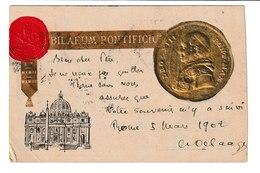 VATICAN / CPA /BILAEUM PONTIFICIU / 1902 /MEDAILLON DORE EN RELIEF - Vatican