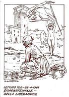 ITALIA - 1985 SETTIMO TORINESE (TO) 40° Anniv. Liberazione (bandiera, Torre Castello) Ann.a Targhetta Su Cartolina Spec. - Seconda Guerra Mondiale