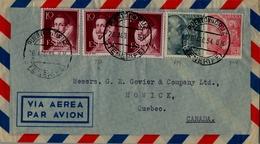 1954 , ESPAÑA , TENERIFE / PUERTO DE LA CRUZ - QUEBEC , CORREO AÉREO - 1931-Heute: 2. Rep. - ... Juan Carlos I