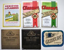 Lot De 7 Etiquettes De GENIEVRE - Des FLANDRES - CHASSART - Distilleries à LOOS, à HOULLE, ... / étiquette Label /A5 - Etiquettes