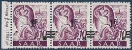 Sarre N°218** Bande De 3 1fr/10pfg Papier Blanc Gros 1 Allant à Normal Et Barres à Cheval TTB & Signé - 1947-56 Occupation Alliée