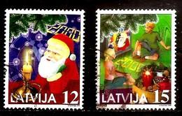 Latvia / Lettonia / Lettland – CHRISTMAS 1999 - SANTA KLAUS - MILLENIUM Used Stamp (0)  12 + 15 - Lettonie
