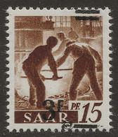 Sarre N°220** 3fr/15pfg Papier Blanc Valeur Très Décalée Et Barres à Cheval TTB & Signé - 1947-56 Occupation Alliée