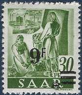 Sarre N°2232** 9fr/30pfg Papier Blanc Surcharge Et Valeur Déplacées TTB Signé - 1947-56 Occupation Alliée