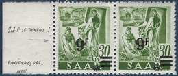 Sarre N°223** 9fr/30pfg Papier Blanc 9 Et F Se Tenant à Normal E Barres Décalées TTB Signé - 1947-56 Occupation Alliée