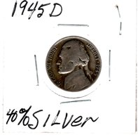 1945D Jefferson Nickel 40% Silver -- War Nickel - Federal Issues