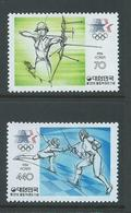 South Korea 1984 Los Angeles Olympics Set Of 2 MNH , 440 Fencing With Natural Gum Flaw - Korea, South