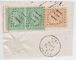 N°35 En Paire Et N°59 Sur Fragment Oblitéré GC 141 De Arcis S Aube (9), TB Et Belle Variété à Gauche Pour La Paire. - 1870 Siege Of Paris