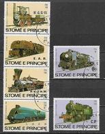 S. TOME' E PRINCIPE 1982  STORIA DELLA FERROVIA YVERT. 721-726 USATA VF - Sao Tomé E Principe