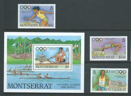 Montserrat 1988 Seoul Olympic Games Set Of 3 & Miniature Sheet MNH - Montserrat