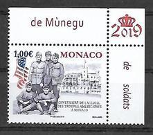 Monaco 2019 -  Yv N° 3180 ** - Centenaire De L'accueil Des Troupes Américaines - Neufs