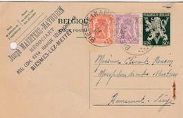 Biesmes - Lez - Mettet ,carte Publicité ,Joseph Maertens - Mathurin ,Négociant - Mettet