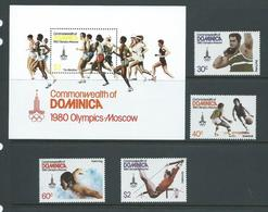 Dominica 1980 Moscow Olympic Games Set Of 4 & Miniature Sheet MNH - Dominica (1978-...)